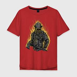Футболка оверсайз мужская Пылающий пожарный цвета красный — фото 1