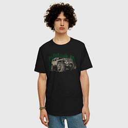 Мужская удлиненная футболка с принтом Джип, цвет: черный, артикул: 10165465705753 — фото 2