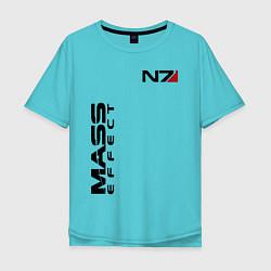 Футболка оверсайз мужская MASS EFFECT N7 цвета бирюзовый — фото 1