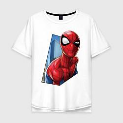 Футболка оверсайз мужская Человек-паук и город цвета белый — фото 1