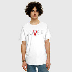 Футболка оверсайз мужская Lover цвета белый — фото 2