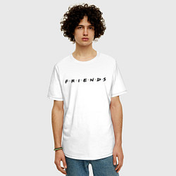 Футболка оверсайз мужская Logo Friends цвета белый — фото 2