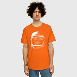 Футболка оверсайз мужская Мне нужно больше места цвета оранжевый — фото 2