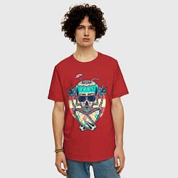 Футболка оверсайз мужская Skull Summer цвета красный — фото 2