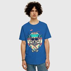Футболка оверсайз мужская Skull Summer цвета синий — фото 2
