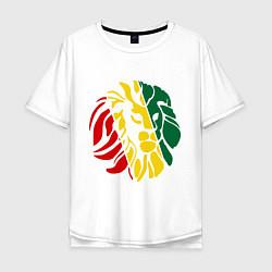 Футболка оверсайз мужская Раста лев цвета белый — фото 1