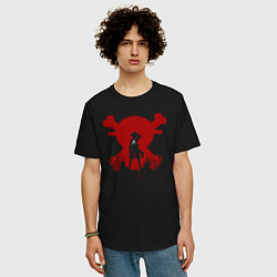 Футболка оверсайз мужская Skull D Luffy цвета черный — фото 2