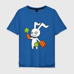 Мужская удлиненная футболка с принтом Злой заяц, цвет: синий, артикул: 10024790705753 — фото 1