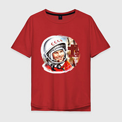 Футболка оверсайз мужская Юрий Гагарин 1 цвета красный — фото 1