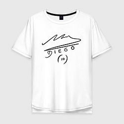 Футболка оверсайз мужская Diego Maradona Автограф цвета белый — фото 1