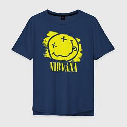 Футболка оверсайз мужская Nirvana Smile цвета тёмно-синий — фото 1