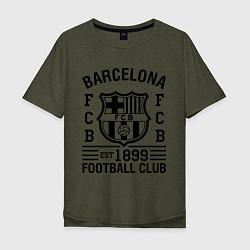Футболка оверсайз мужская Barcelona FCB цвета меланж-хаки — фото 1