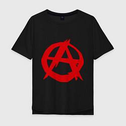 Футболка оверсайз мужская Символ анархии цвета черный — фото 1