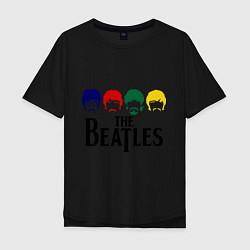 Футболка оверсайз мужская The Beatles Heads цвета черный — фото 1