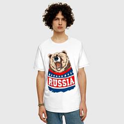 Футболка оверсайз мужская Made in Russia: медведь цвета белый — фото 2