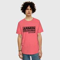 Мужская удлиненная футболка с принтом Armin van Buuren, цвет: коралловый, артикул: 10061383405753 — фото 2