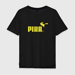 Мужская удлиненная футболка с принтом Пика, цвет: черный, артикул: 10063656205753 — фото 1