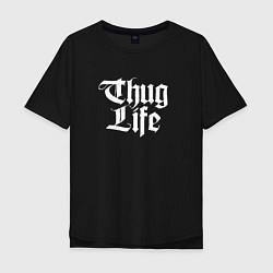 Мужская удлиненная футболка с принтом Thug Life: 2Pac, цвет: черный, артикул: 10068710605753 — фото 1