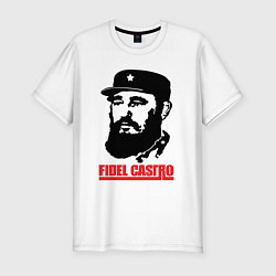 Футболка slim-fit Fidel Castro цвета белый — фото 1