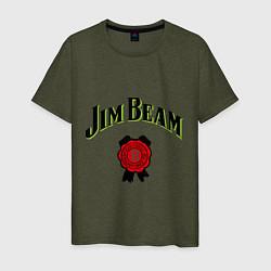 Футболка хлопковая мужская Jim Beam цвета меланж-хаки — фото 1