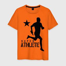 Футболка хлопковая мужская Лёгкая атлетика цвета оранжевый — фото 1