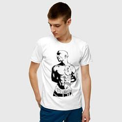 Мужская хлопковая футболка с принтом 2pac, цвет: белый, артикул: 10010672500001 — фото 2