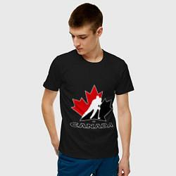 Футболка хлопковая мужская Canada цвета черный — фото 2