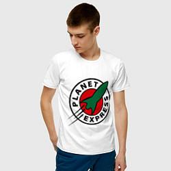 Футболка хлопковая мужская Planet Express цвета белый — фото 2