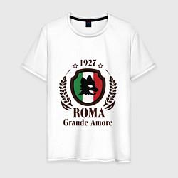 Футболка хлопковая мужская AS Roma: Grande Amore цвета белый — фото 1