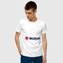 Футболка хлопковая мужская Suzuki цвета белый — фото 2