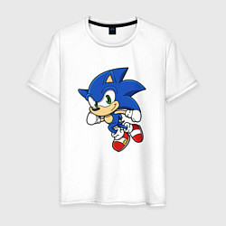 Футболка хлопковая мужская Sonic цвета белый — фото 1