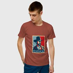 Футболка хлопковая мужская Chuck Poster цвета кирпичный — фото 2