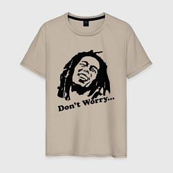 Футболка хлопковая мужская Bob Marley: Don't worry цвета миндальный — фото 1