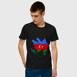 Футболка хлопковая мужская Azerbaijan map цвета черный — фото 2