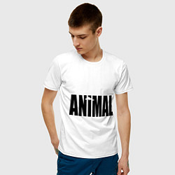 Футболка хлопковая мужская Animal цвета белый — фото 2
