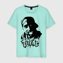 Мужская хлопковая футболка с принтом 2pac, цвет: мятный, артикул: 10012602900001 — фото 1