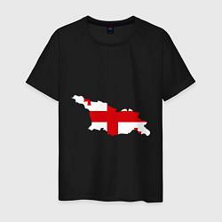Футболка хлопковая мужская Грузия (Georgia) цвета черный — фото 1