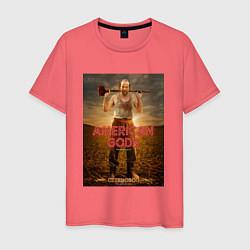 Футболка хлопковая мужская American Gods: Czernobog цвета коралловый — фото 1