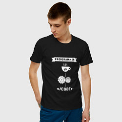 Футболка хлопковая мужская Принцип работы программиста цвета черный — фото 2