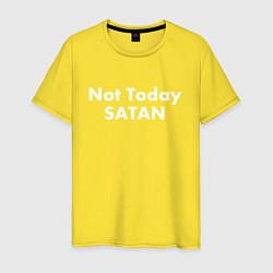 Футболка хлопковая мужская Not Today Satan цвета желтый — фото 1