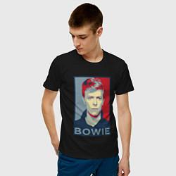 Футболка хлопковая мужская Bowie Poster цвета черный — фото 2