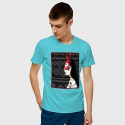 Футболка хлопковая мужская Supreme girl III цвета бирюзовый — фото 2