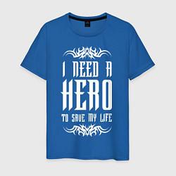Мужская хлопковая футболка с принтом Skillet: I need a Hero, цвет: синий, артикул: 10142813100001 — фото 1