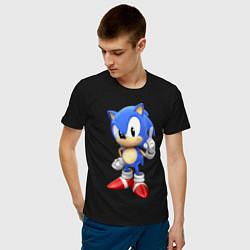 Футболка хлопковая мужская Classic Sonic цвета черный — фото 2