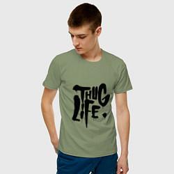 Мужская хлопковая футболка с принтом Thug Life, цвет: авокадо, артикул: 10145997900001 — фото 2