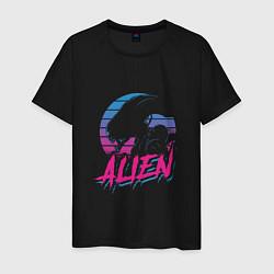 Мужская хлопковая футболка с принтом Alien: Retro Style, цвет: черный, артикул: 10151585700001 — фото 1