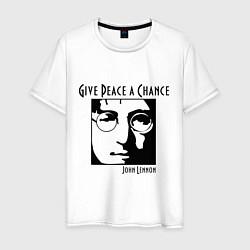 Футболка хлопковая мужская Give Peace a Chance цвета белый — фото 1