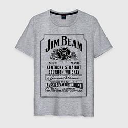 Футболка хлопковая мужская Jim Beam whiskey цвета меланж — фото 1