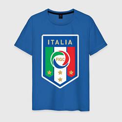 Мужская хлопковая футболка с принтом Italia FIGC, цвет: синий, артикул: 10153220900001 — фото 1