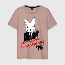 Футболка хлопковая мужская Misfits: White rabbit цвета пыльно-розовый — фото 1